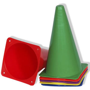 "Multi Colored 9"" Cones - Set of 6"