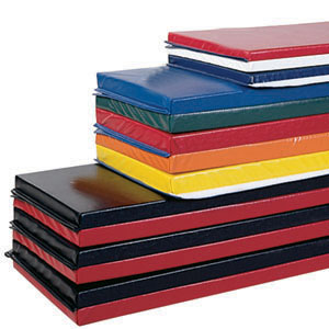 "Tumble and Martial Arts Folding Mats: DUAL DENSITY:  (Hook & Loop on Four Sections) 4'x6'x2-1/2""  (RAINBOW)"